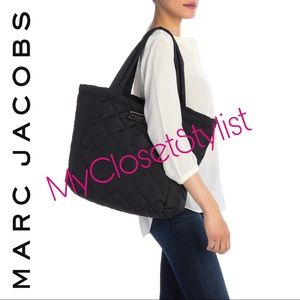 MARC JACOBS Black Shopper Tote NWT XL Logo Quilted